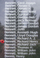 Memorial– Pilot Officer Richard Henry Montague Bennett is also commemorated on the Bomber Command Memorial Wall in Nanton, AB … photo courtesy of Marg Liessens