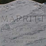 Grave marker– Headstone of Harvey Marritt at Thornbury-Clarksburg Union Cemetery