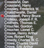 Memorial– Flying Officer Percy Bruce Crosswell is also commemorated on the Bomber Command Memorial Wall in Nanton, AB … photo courtesy of Marg Liessens