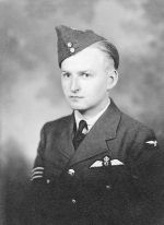 Photo of Walter Colin Ahrens– Walter Colin Ahrens joined the ranks of the RCAF in October 1940 at the age of 20. After flight training in Canada he was posted to England to fly fighter aircraft. He flew with No.197 squadron, a Spitfire Squadron, and was later promoted to Flight Lieutenant. In June of 1944 he was made Squadron Leader and given command of No. 257 to fly Typhoon airplanes.
