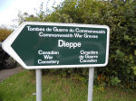 CWGC Sign to Dieppe Canadian War Cemetery– Sign to Hautot-Sur-Mer Cemetery where Walter is buried.