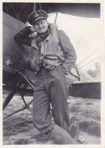 Photo of Walter Colin Ahrens– Squadron Leader Walter C. Ahrens flew both Spitfire and Typhoon aircraft. On July 16, 1944 he was flying a Typhoon over France and attacked an army motor transport at not more than 100 feet from the ground, dropping twin 1000 pound bombs. His aircraft was caught in the wake of the explosions and his fighter was crippled. He radioed that he would try to make it home but he had to ditch the plane. He bailed out just east of Caen but his parachute failed to open properly. He was listed as missing in action and it was 10 months before his family received word that he was confirmed dead at the age of 23.
