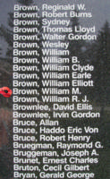Memorial– Flight Sergeant William McIntosh Brown is also commemorated on the Bomber Command Memorial Wall in Nanton, AB … photo courtesy of Marg Liessens