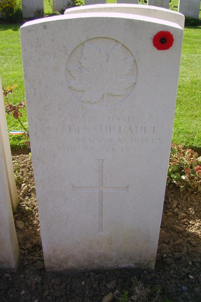 Cemetery– Grave marker - Dieppe Canadian War Cemetery - August 2012 Photo courtesy of Marg Liessens