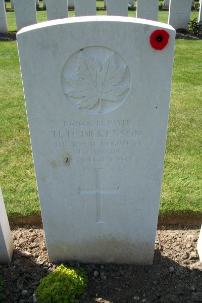 Grave Marker– Grave marker - Dieppe Canadian War Cemetery - April 2017 … photo courtesy of Marg Liessens