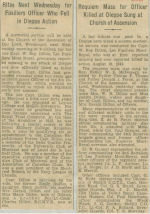 Newspaper clipping– Captain Gerald Wentworth Roy Dillon obit Montreal Gazette January 25 & 28, 1943 courtesy McGill University archives