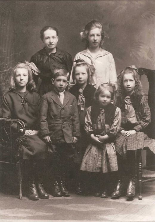Photo of JAMES HENDERSON– Mother Janet (BR left), sister Jean  (BR right) (FR) Ester, Margaret, James,  Alice and Barbara . Submitted for the project, Operation Picture Me