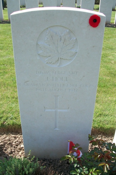 Photo of JUEL HOLT– Grave marker - Dieppe Canadian War Cemetery - April 2017 … photo courtesy of Marg Liessens