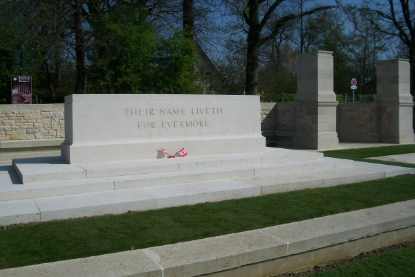 Photo of JUEL HOLT– Stone of Remembrance - Dieppe Canadian War Cemetery - April 2017 … photo courtesy of Marg Liessens
