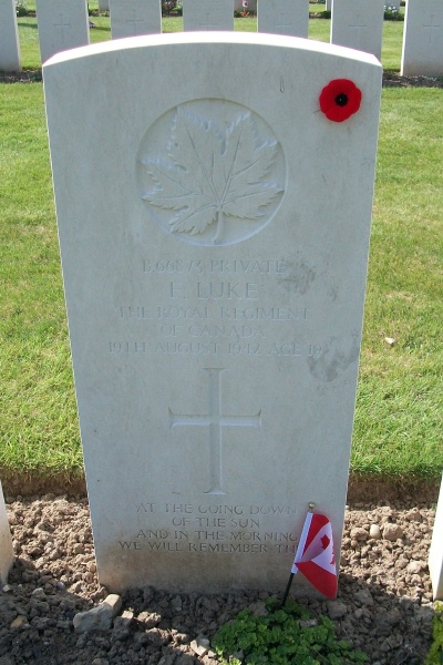Photo of FRED LUKE– Grave marker - Dieppe Canadian War Cemetery - April 2017 … photo courtesy of Marg Liessens