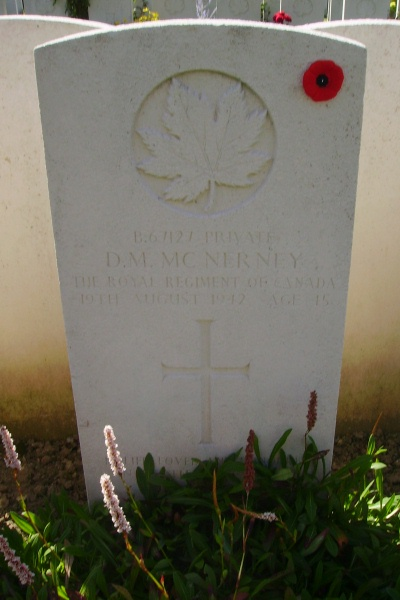 Grave Marker– Grave marker - Dieppe Canadian War Cemetery - August 2012