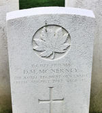 Grave Marker– The grave marker at the Dieppe Canadian War Cemetery located approximately 5 km. from the beach of Dieppe, France. May he rest in peace. (J. Stephens)