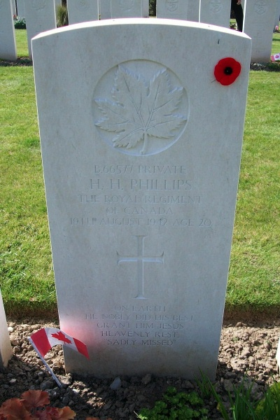 Photo of HARVEY HAROLD PHILLIPS– Grave marker - Dieppe Canadian War Cemetery - April 2017 … photo courtesy of Marg Liessens