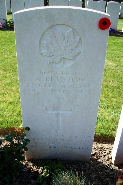 Photo of WILLIAM READSHAW– Grave marker - Dieppe Canadian War Cemetery - April 2017 … photo courtesy of Marg Liessens