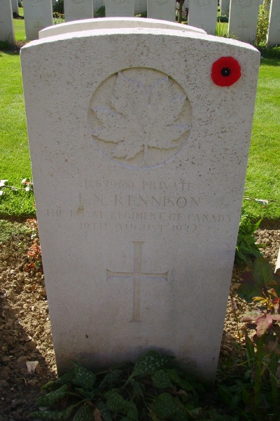 Grave Marker– Grave marker - Dieppe Canadian War Cemetery - August 2012 Photo courtesy of Marg Liessens