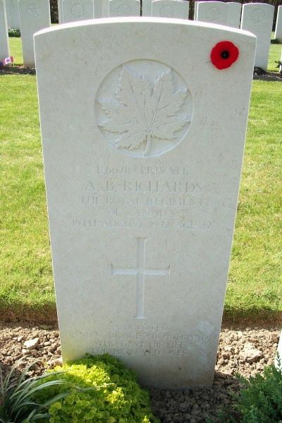 Photo of AUSTIN BERTRAM RICHARDS– Grave marker - Dieppe Canadian War Cemetery - April 2017 … photo courtesy of Marg Liessens