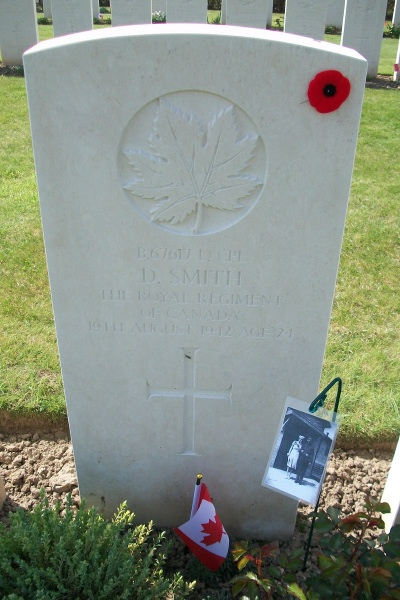 Grave Marker– Dieppe Canadian War Cemetery - April 2017 … photo courtesy of Marg Liessens