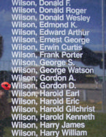 Memorial– Flying Officer Gordon Douglas Wilson is also commemorated on the Bomber Command Memorial Wall in Nanton, AB … photo courtesy of Marg Liessens
