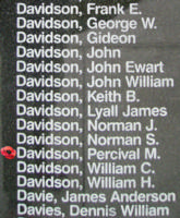 Memorial– Sergeant Percival Matthew Davidson is also commemorated on the Bomber Command Memorial Wall in Nanton, AB … photo courtesy of Marg Liessens
