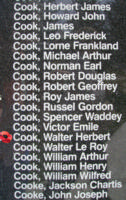 Memorial– Flight Lieutenant Walter Herbert Cook is also commemorated on the Bomber Command Memorial Wall in Nanton, AB … photo courtesy of Marg Liessens