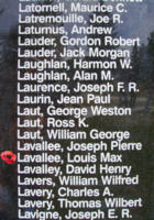 Memorial– Pilot Officer Louis Max Lavallee is also commemorated on the Bomber Command Memorial Wall in Nanton, AB … photo courtesy of Marg Liessens