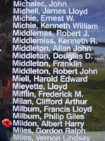 Memorial– Flying Officer Albert Harry Mildon is also commemorated on the Bomber Command Memorial Wall in Nanton, AB … photo courtesy of Marg Liessens
