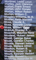 Memorial– Pilot Officer William Victor Moss is also commemorated on the Bomber Command Memorial Wall in Nanton, AB … photo courtesy of Marg Liessens
