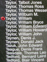 Memorial– Pilot Officer William Taylor is commemorated on the Bomber Command Memorial Wall in Nanton, AB … photo courtesy of Marg Liessens