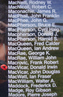 Memorial– Flight Sergeant Donald Irwin MacVicar is also commemorated on the Bomber Command Memorial Wall in Nanton, AB … photo courtesy of Marg Liessens
