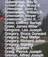 Memorial– Flying Officer John Kinnaird Greeway is also commemorated on the Bomber Command Memorial Wall in Nanton, AB … photo courtesy of Marg Liessens