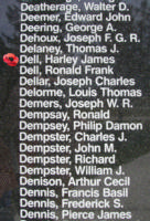 Memorial– Pilot Officer Harley James Dell is also commemorated on the Bomber Command Memorial Wall in Nanton, AB … photo courtesy of Marg Liessens