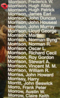Memorial– Flying Officer Hugh Allan Morrison is also commemorated on the Bomber Command Memorial Wall in Nanton, AB … photo courtesy of Marg Liessens