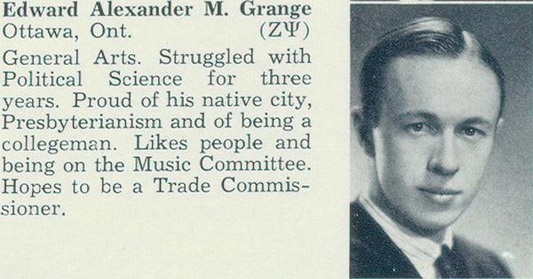 Photo– Photo of Grange from Torontonensis, University of Toronto yearbook, 1940.