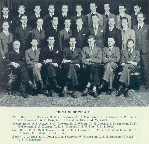 Photo– Group photo of Grange with fellow members of Zeta Psi fraternity. Grange is shown in first row, photo left.