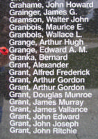 Memorial– Pilot Officer Edward Alexander Mcdougall Grange is also commemorated on the Bomber Command Memorial Wall in Nanton, AB … photo courtesy of Marg Liessens