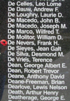 Memorial– Pilot Officer Frank Holmes De Nevers is also commemorated on the Bomber Command Memorial Wall in Nanton, AB … photo courtesy of Marg Liessens