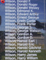 Memorial– Pilot Officer Donald Frederick Wilson is also commemorated on the Bomber Command Memorial Wall in Nanton, AB … photo courtesy of Marg Liessens