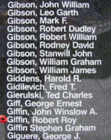 Memorial– Flying Officer Robert Roy Giffin is also commemorated on the Bomber Command Memorial Wall in Nanton, AB … photo courtesy of Marg Liessens