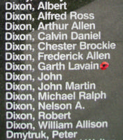 Memorial– Sergeant Garth Lavain Dixon is also commemorated on the Bomber Command Memorial Wall in Nanton, AB … photo courtesy of Marg Liessens