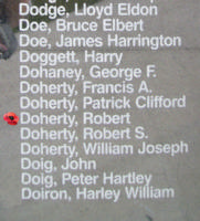 Memorial– Flight Sergeant Robert Doherty is also commemorated on the Bomber Command Memorial Wall in Nanton, AB … photo courtesy of Marg Liessens