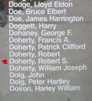 Memorial– Sergeant Robert Spencer Doherty is also commemorated on the Bomber Command Memorial Wall in Nanton, AB … photo courtesy of Marg Liessens