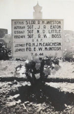 Temporary Grave Marker– Original temporary grave marker for British and Canadian airmen killed in France and buried in a communal grave..