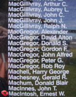 Memorial– Flying Officer Ernest William MacIntosh is also commemorated on the Bomber Command Memorial Wall in Nanton, AB … photo courtesy of Marg Liessens