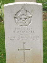 Grave Marker– Photograph taken in May 2009 at the war cemetery, Banneville -La-Campagne, Normandy.