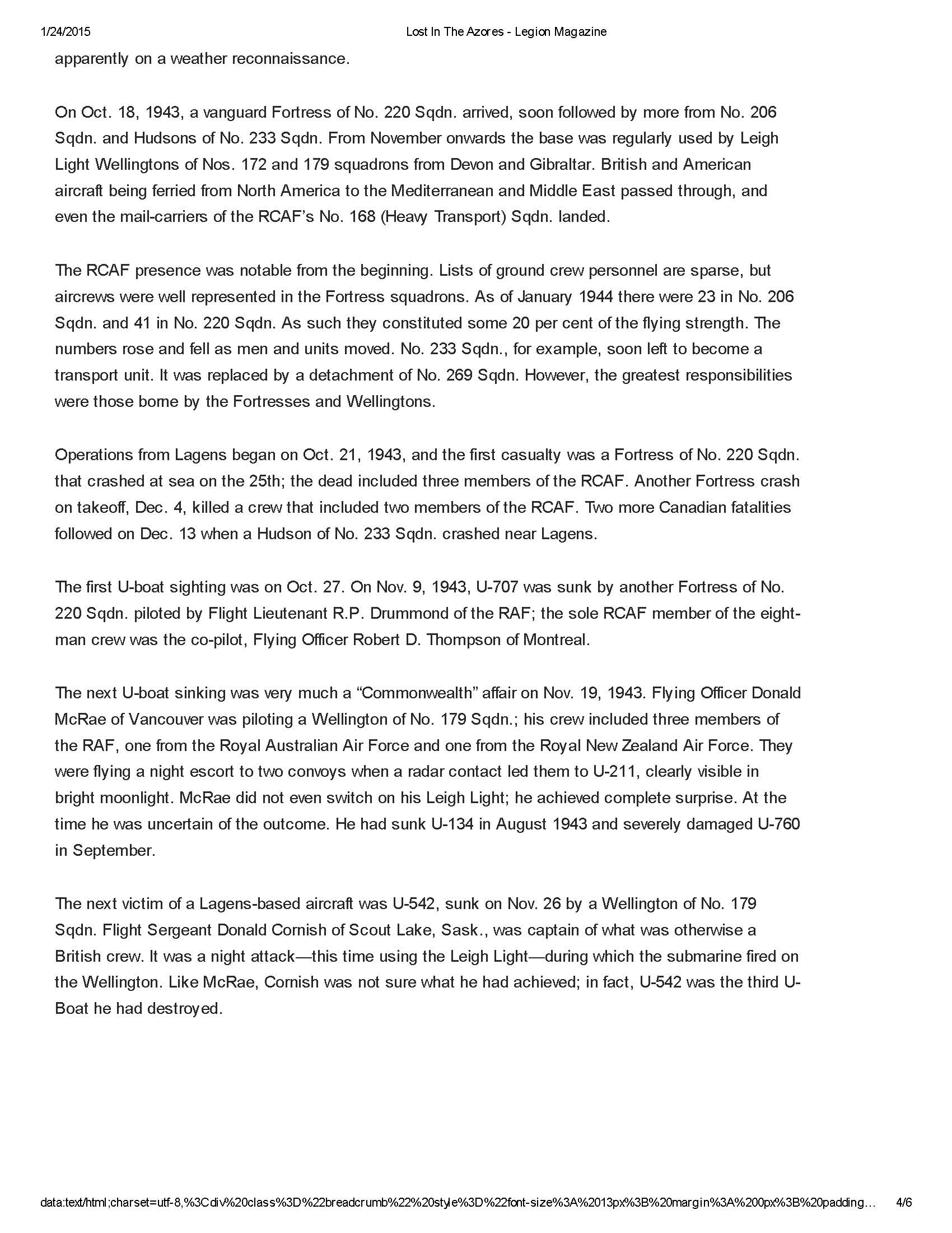 Newspaper Clipping– Article written by Hugh A. Halliday and published in the Legion Magazine on January 28, 2014 which mentions Alfred William Dungate