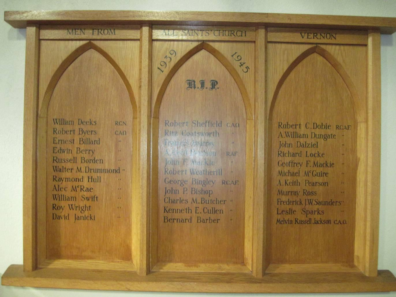 Memorial– All Saints Church, Vernon, BC - Memorial Listing A. William Dungate