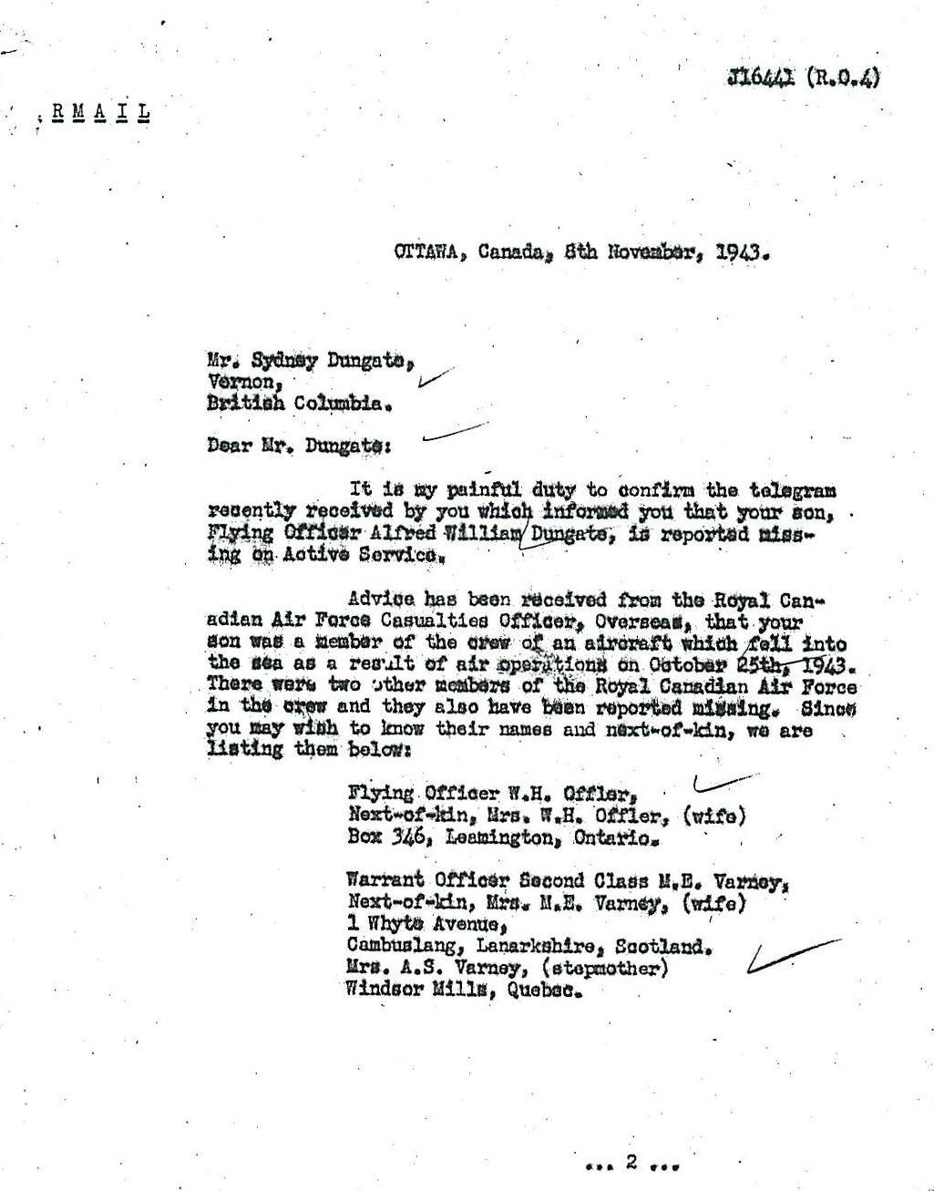 Letter (November 8, 1943)