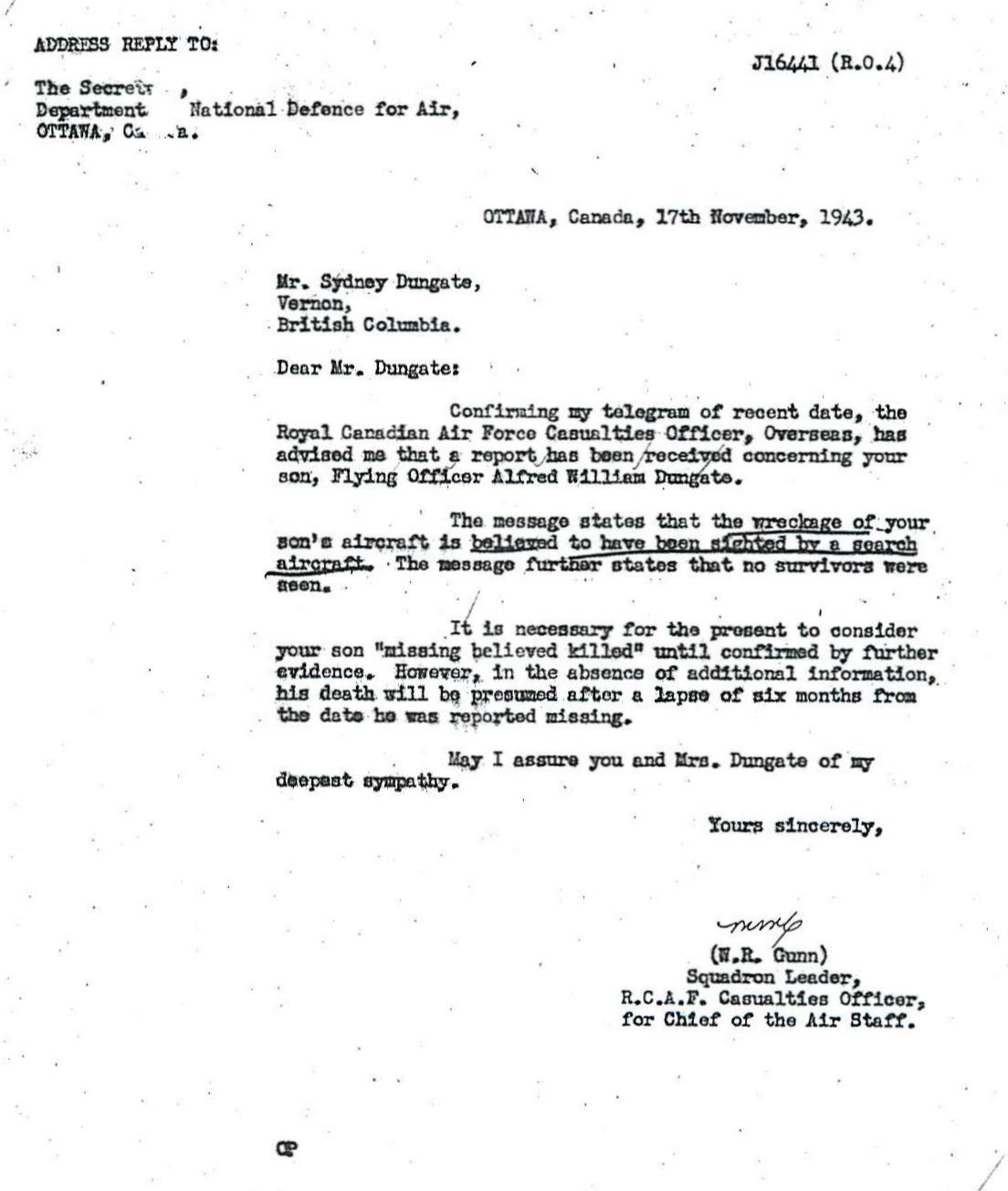 Letter (November 17, 1943)