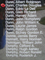 Memorial– Flight Sergeant Charles Douglas Dunn is also commemorated on the Bomber Command Memorial Wall in Nanton, AB … photo courtesy of Marg Liessens