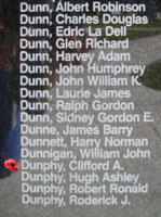 Memorial– Sergeant Clifford Alexander Dunphy is also commemorated on the Bomber Command Memorial Wall in Nanton, AB … photo courtesy of Marg Liessens